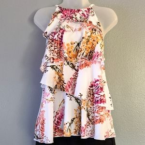 3/$20 Worthington Floral tiered blouse
